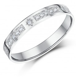 3mm 0.16ct Diamond 9ct White Gold Half Eternity Ring