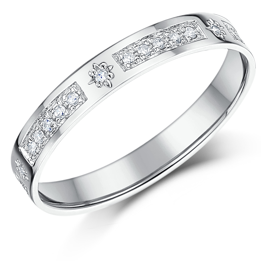 3mm Ladies Diamond Eternity Ring White Gold Half Eternity 0.16ct Ring