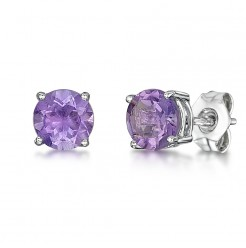 9ct White Gold Amethyst Claw Set Stud Earrings 5mm