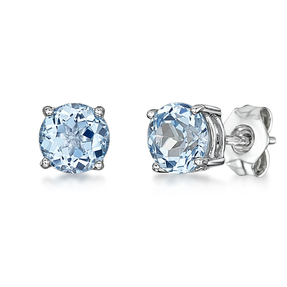 9ct White Gold Round Claw Set Blue Topaz Stud Earrings 5mm