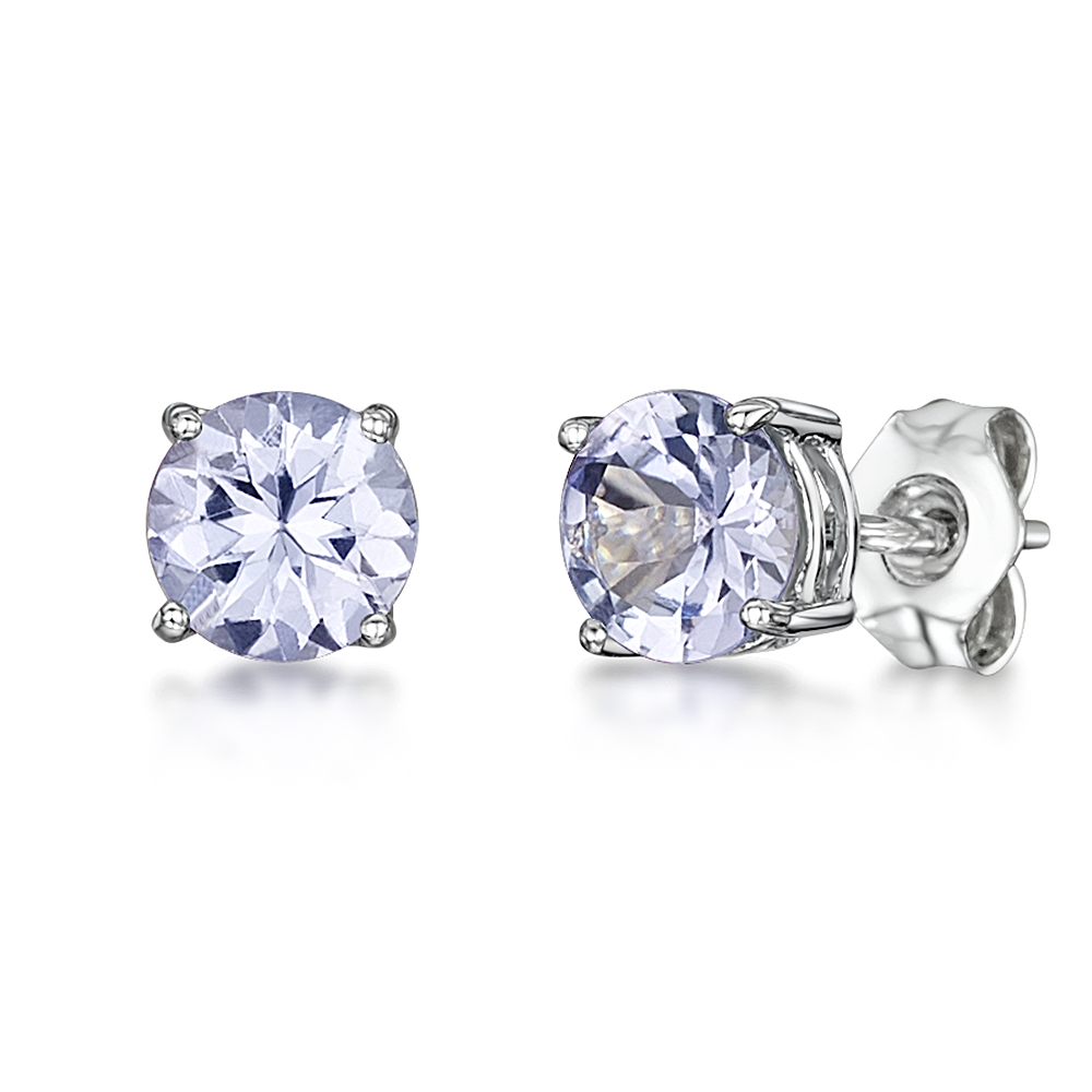 9ct White Gold Round Claw Set Tanzanite Stud Earrings 5mm