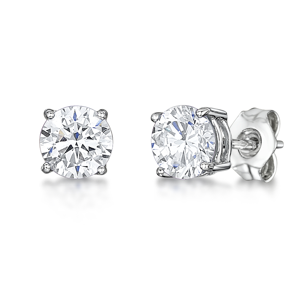 9ct White Gold Round Claw Set White CZ Stud Earrings 5mm