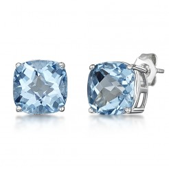 9ct White Gold Chequerboard Cut Cushion Blue Topaz Stud Earrings 8mm