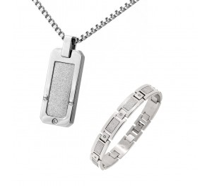 Mens Stainless Steel White Accent Cz Dog Tag & Bracelet Set