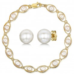 9ct Yellow Gold White Pearl Bracelet & Stud Earring Set