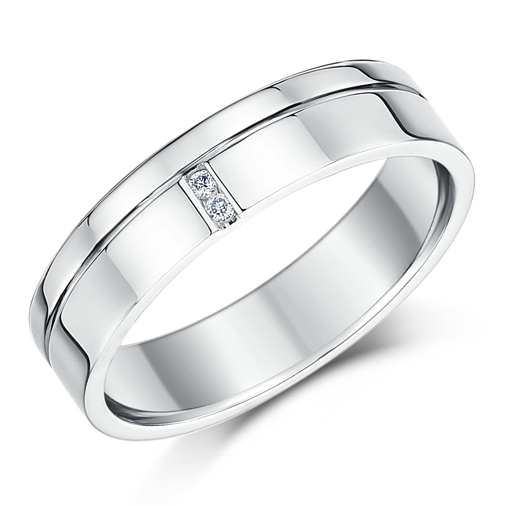 5mm Palladium 950 Grooved Design Diamond Wedding Ring Band
