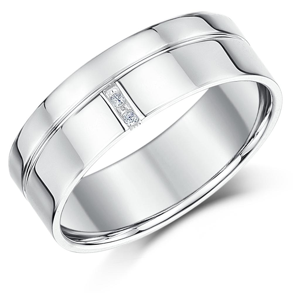 7mm Palladium 950 Grooved Design Diamond Wedding Ring Band