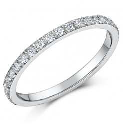 2mm Ladies White Titanium CZ Eternity Ring