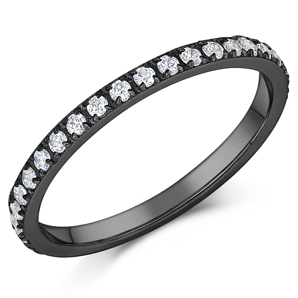 2mm Ladies Black Titanium CZ Eternity Ring