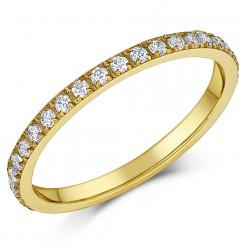 2mm Ladies Yellow Titanium CZ Eternity Ring