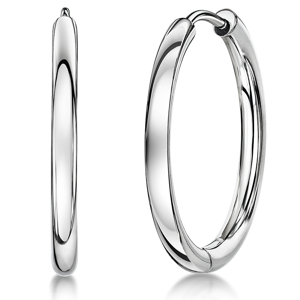 Ladies Titanium Hoop Earrings Large 24mm Plain Earrings High Polished