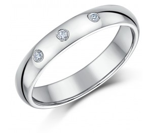4mm 9ct Hollow White Gold Court Diamond Wedding Ring